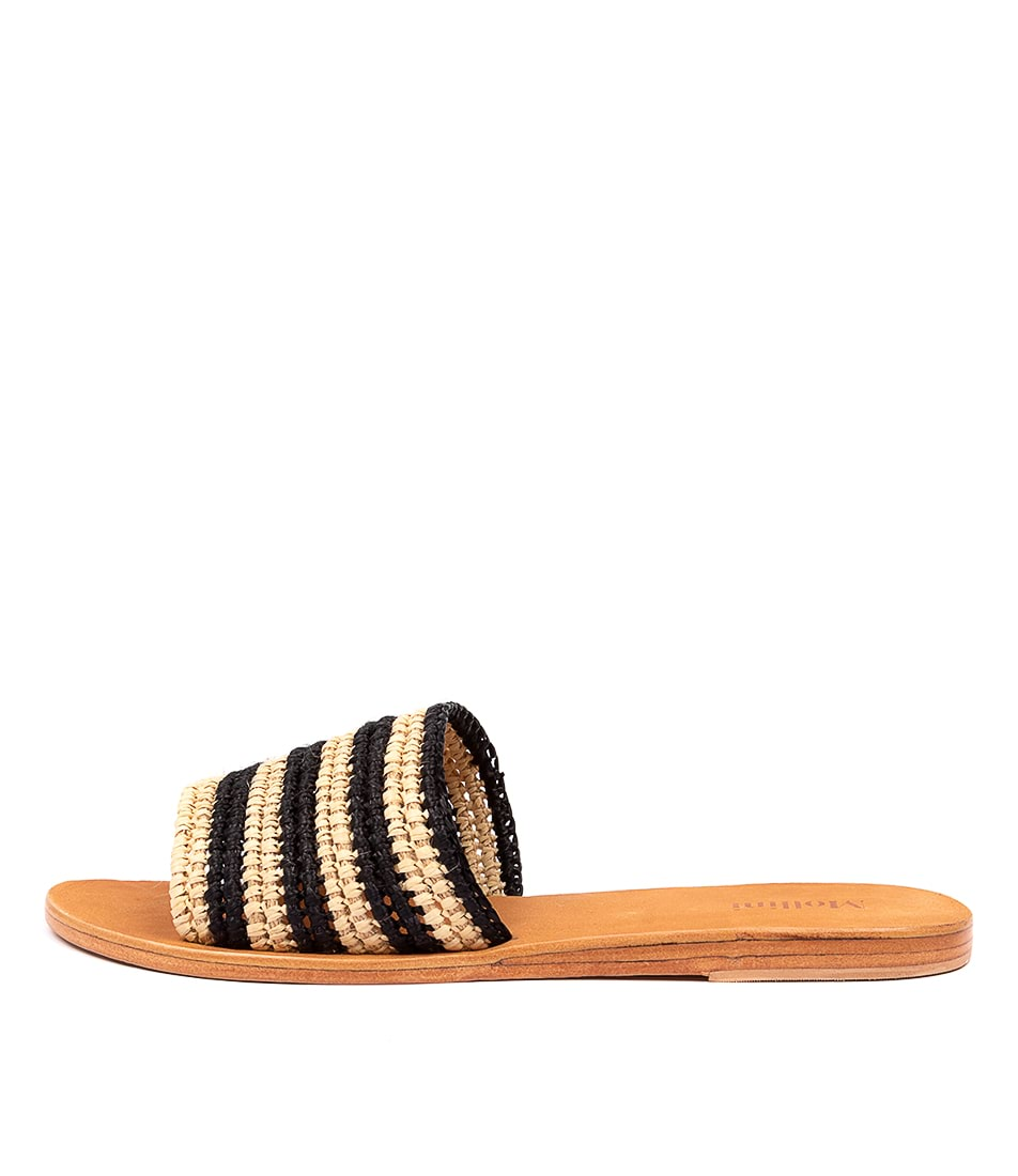 Buy Mollini Sara Mo Natural Black Flat Sandals online with free shipping