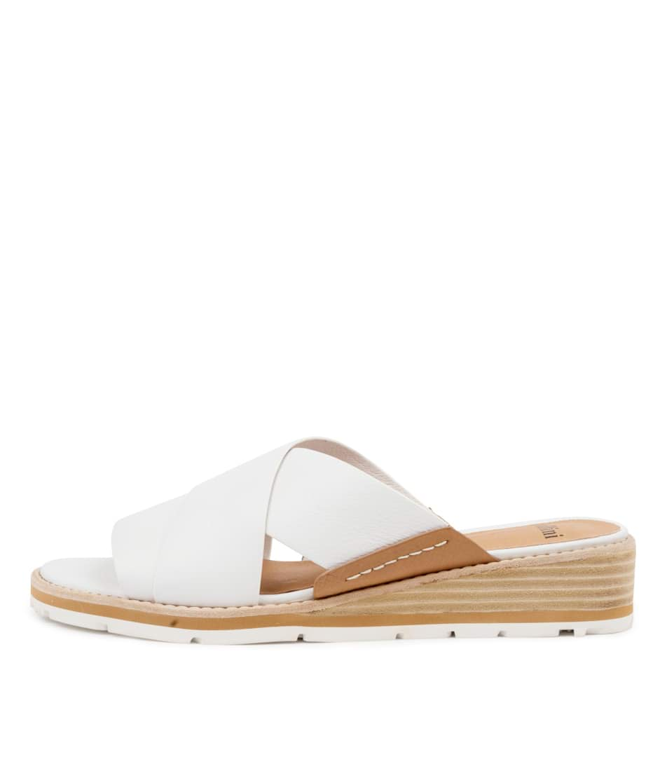 Buy Mollini Berity Mo White Dk Tan Flat Sandals online with free shipping