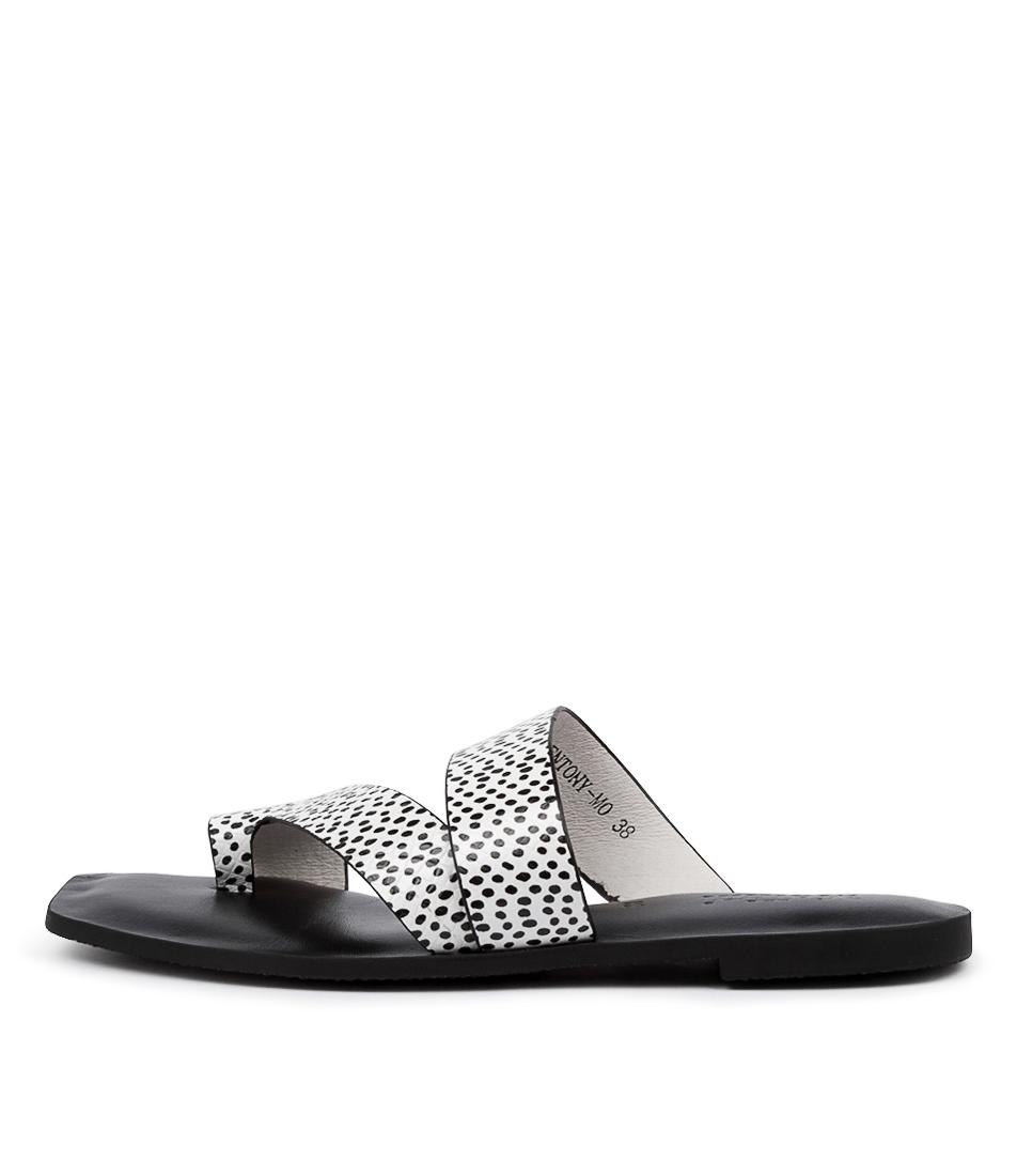 Buy Mollini Entony Mo Black & White Spo Flat Sandals online with free shipping