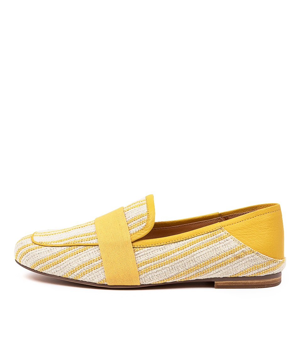 Buy Mollini Golive Mo Yellow Stripe Flats online with free shipping