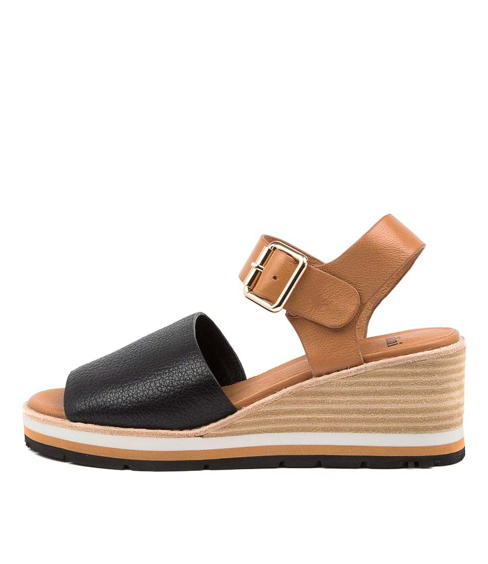Buy Mollini Nastro Mo Black Dk Tan Heeled Sandals online with free shipping