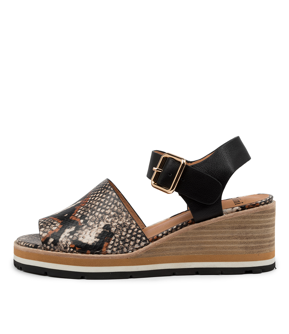 Buy Mollini Nastro Mo Tan Multi Black Heeled Sandals online with free shipping