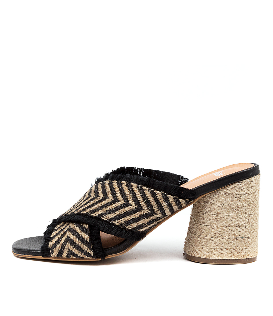 Buy Mollini Nettary Mo Natural & Black Heeled Sandals online with free shipping