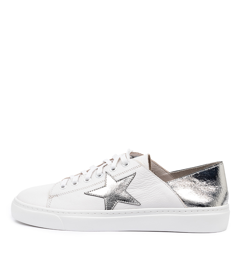 Buy Mollini Oholiday Mo White Silver Foil Sneakers online with free shipping