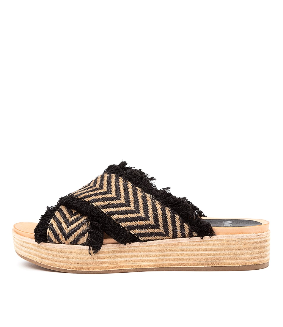Buy Mollini Wicargo Mo Natural & Black Flat Sandals online with free shipping