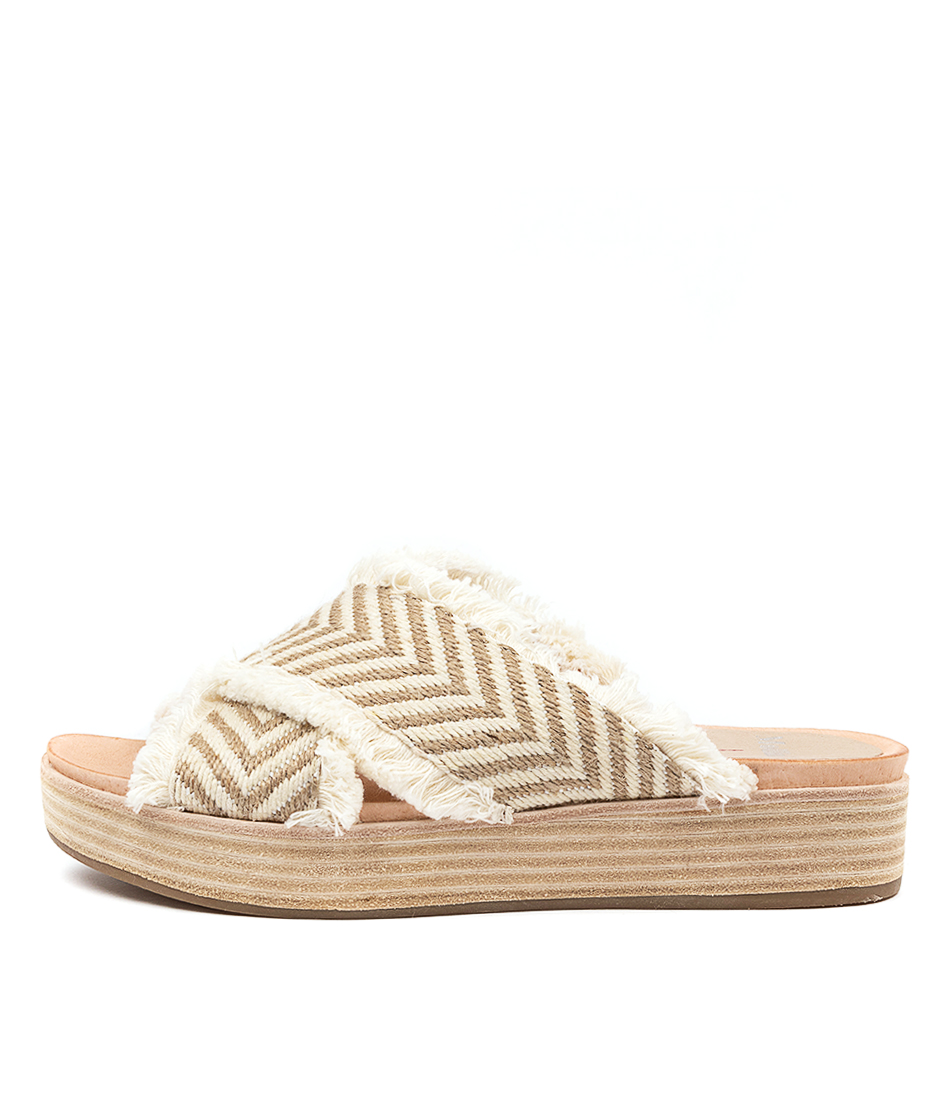 Buy Mollini Wicargo Mo Natural & White Flat Sandals online with free shipping