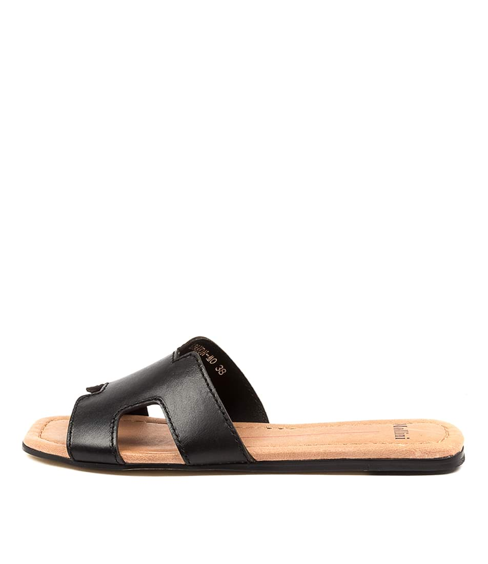 Buy Mollini Leamon Mo Black Tan Flat Sandals online with free shipping