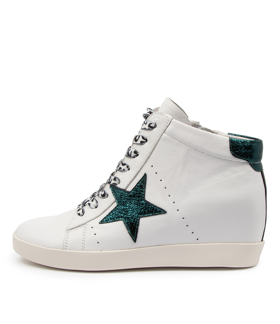 Buy Mollini Afeeby Mo White Green Foil Sneakers online with free shipping