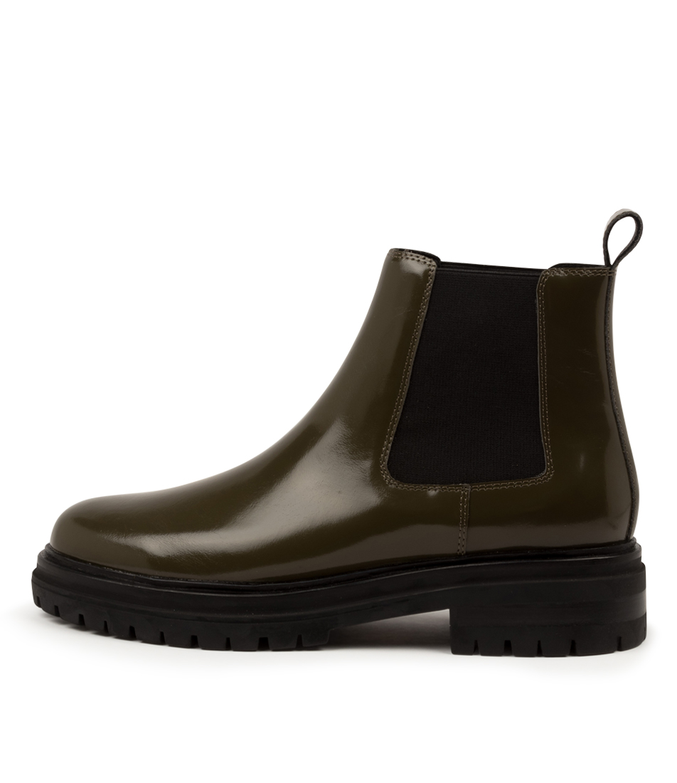 Buy Mollini Agaly Mo Olive Black Sole Ankle Boots online with free shipping
