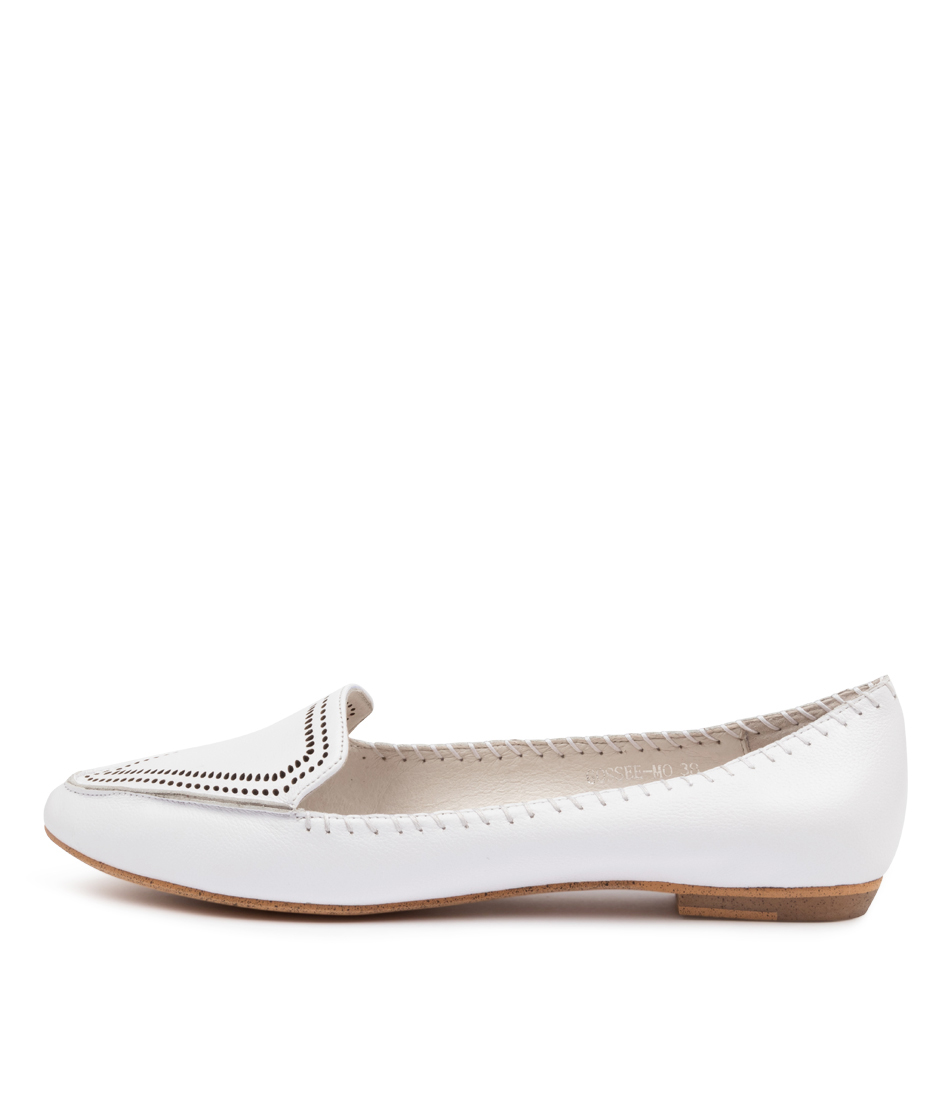 Buy Mollini Gossee Mo White Flats online with free shipping