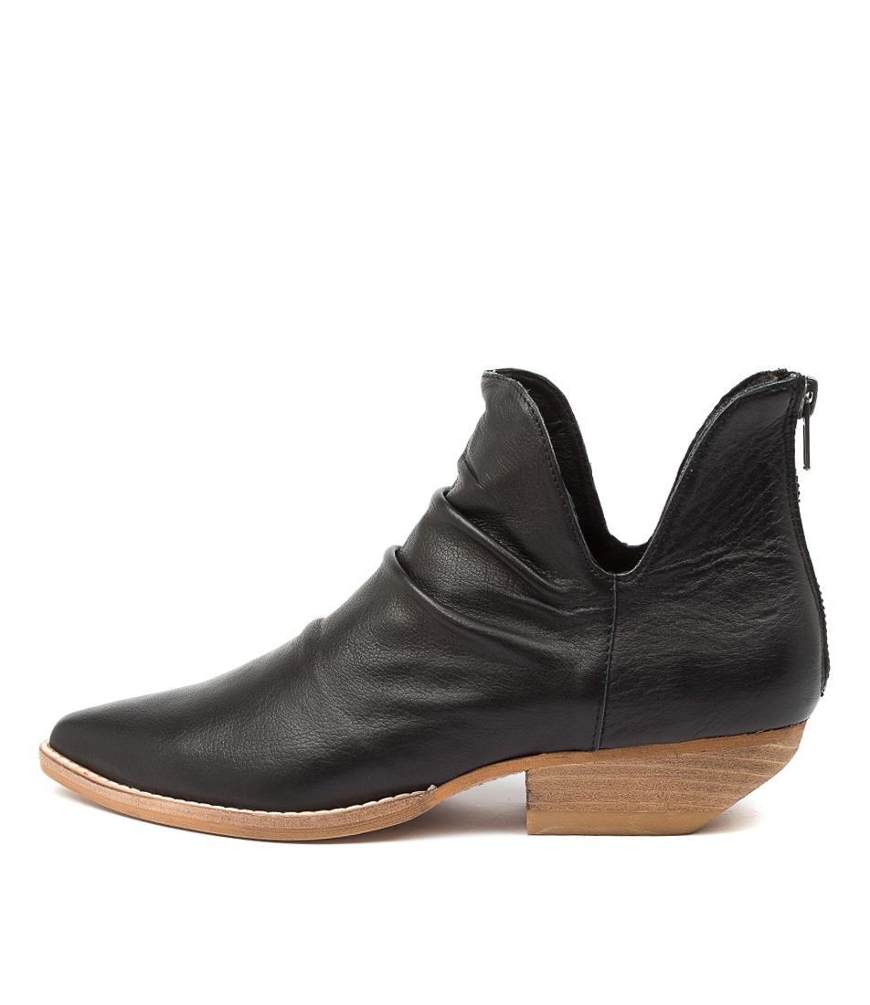 Buy Mollini Payor Mo Black Natural Heel Ankle Boots online with free shipping