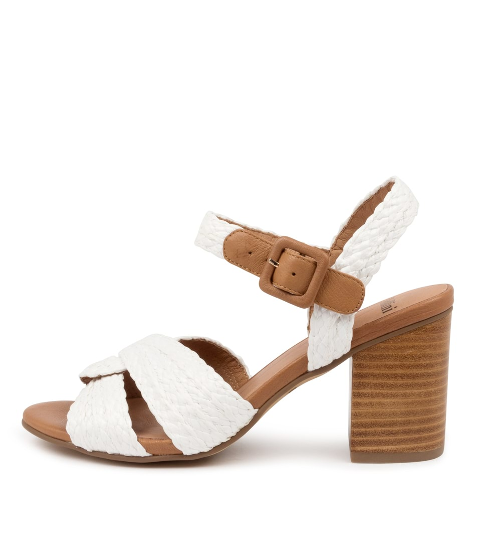Buy Mollini Asailor Mo White Dk Tan Heeled Sandals online with free shipping