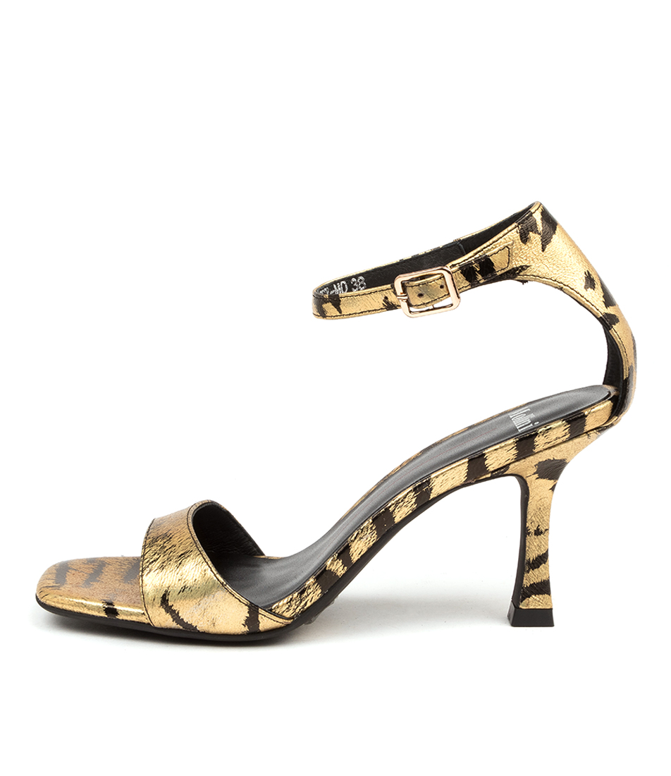 Buy Mollini Blesy Mo Gold & Black Zebra Heeled Sandals online with free shipping