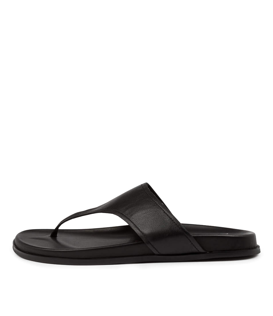 Buy Mollini Hugh Mo Black Sole Flat Sandals online with free shipping