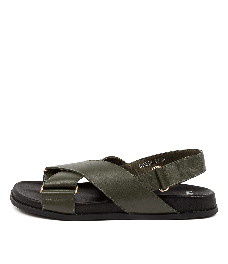 Buy Mollini Haylow Mo Olive Black Sole Flat Sandals online with free shipping