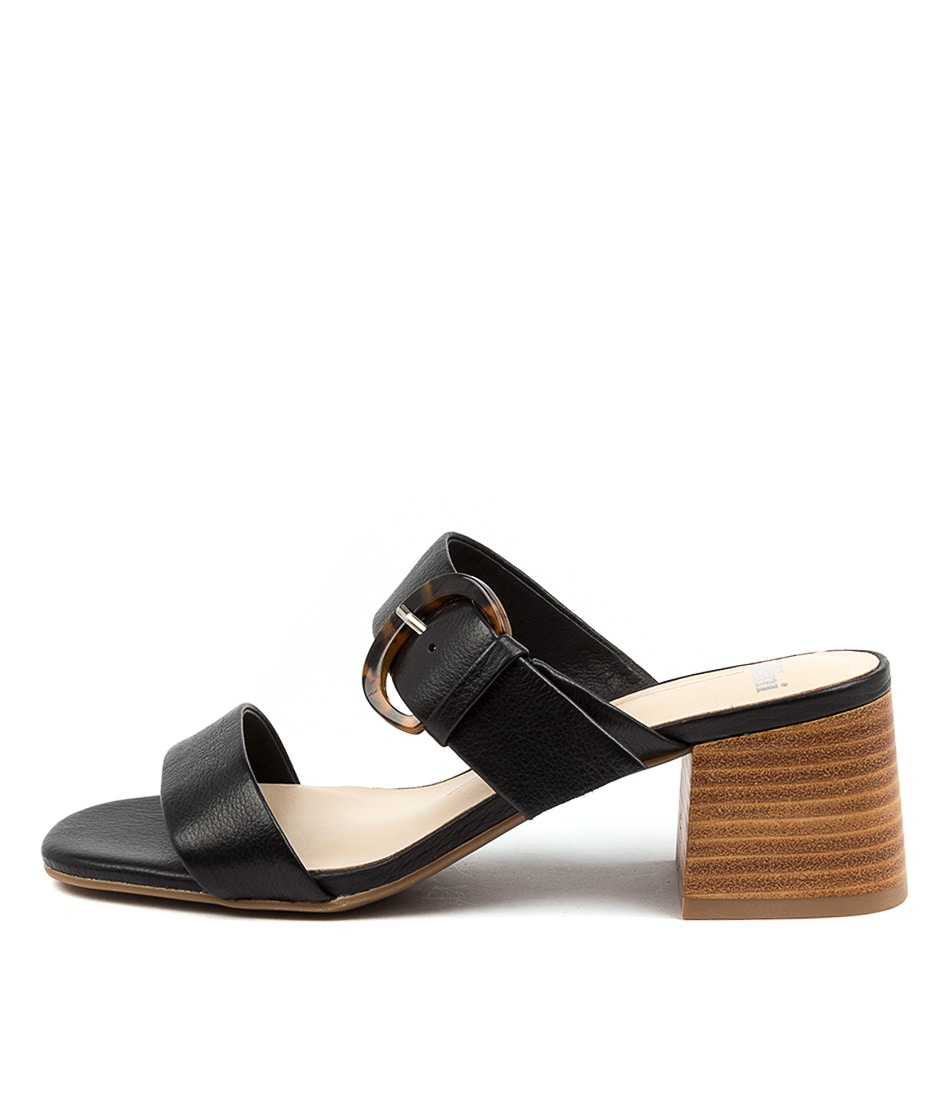 Buy Mollini Piney Mo Black Natural Heel Heeled Sandals online with free shipping