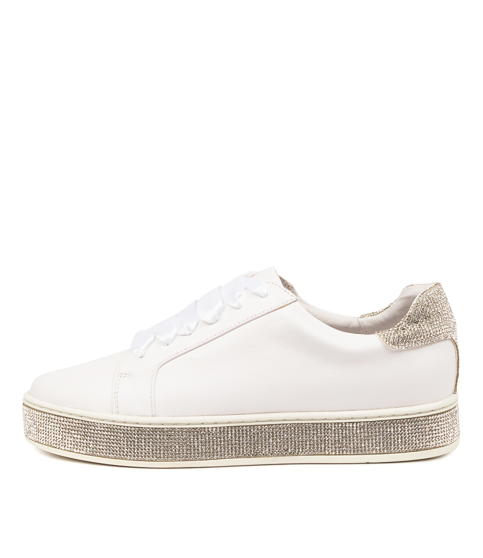 Buy Mollini Pluma Tomo White Silver Flats online with free shipping