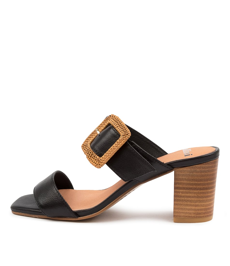 Buy Mollini Perrin Djmo Black Natural Heel Heeled Sandals online with free shipping