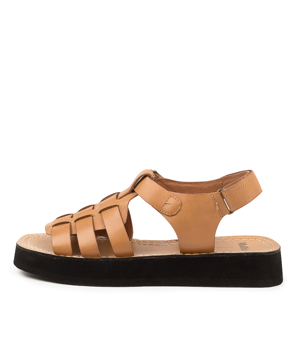 Buy Mollini Resigns Mo Lt Tan Black Sole Flat Sandals online with free shipping