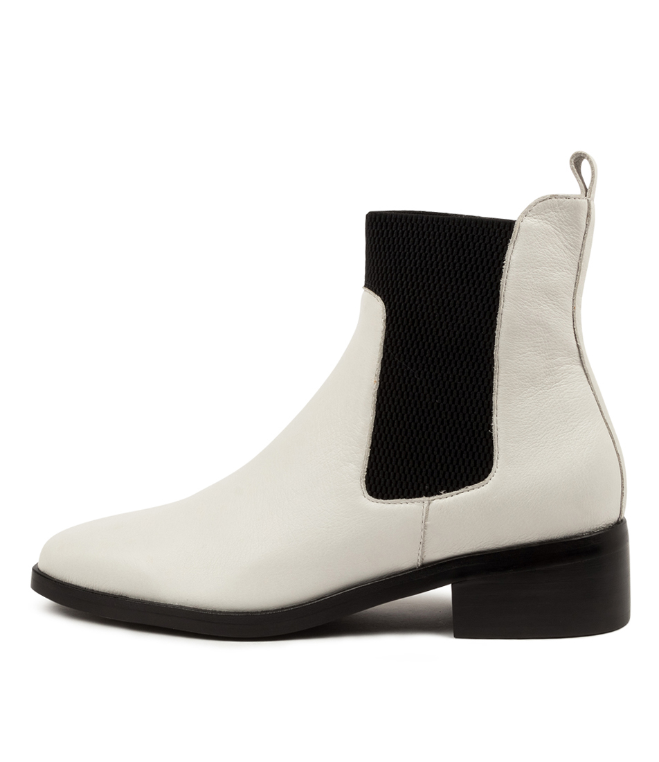 Buy Mollini Geetee Mo Winter White Black Heel Ankle Boots online with free shipping