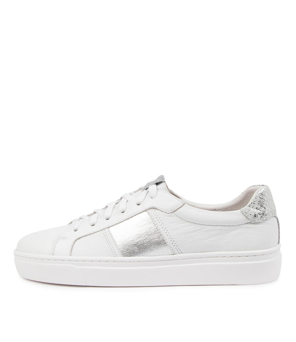 Buy Mollini Onstripe Mo White Silver Sneakers online with free shipping