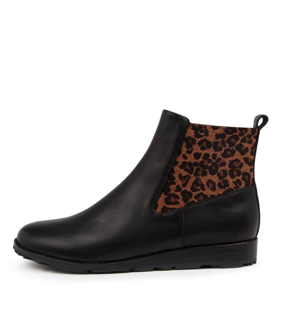 Buy Mollini Qwiet Mo Black Leopard Ankle Boots online with free shipping
