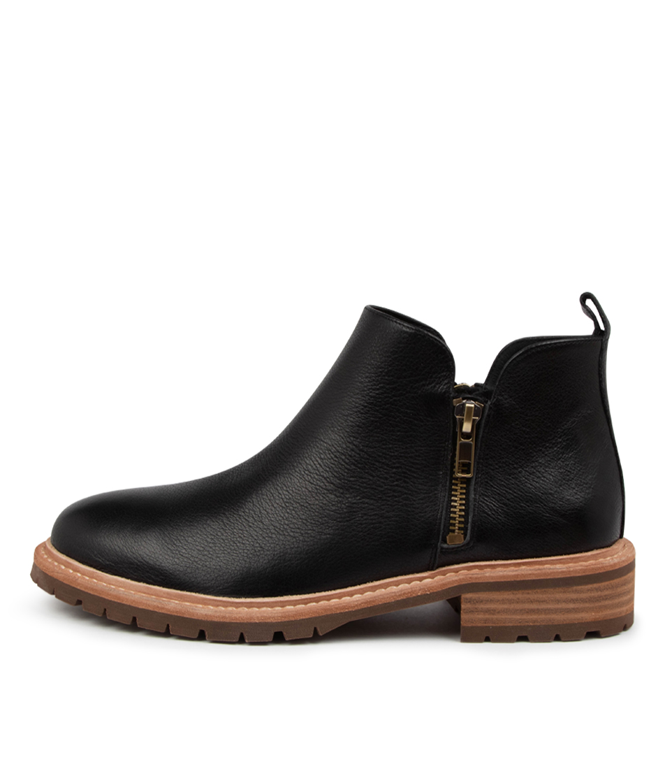 Buy Mollini Rokie Mo Black Natural Heel Ankle Boots online with free shipping