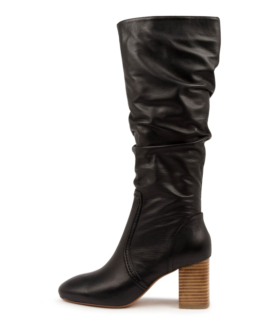 Buy Mollini Selestie Mo Black Natural Heel Long Boots online with free shipping