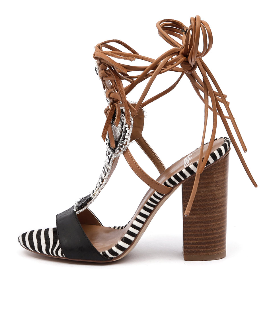 Mollini Firestorm Black Tan Multi Dress Heeled Sandals