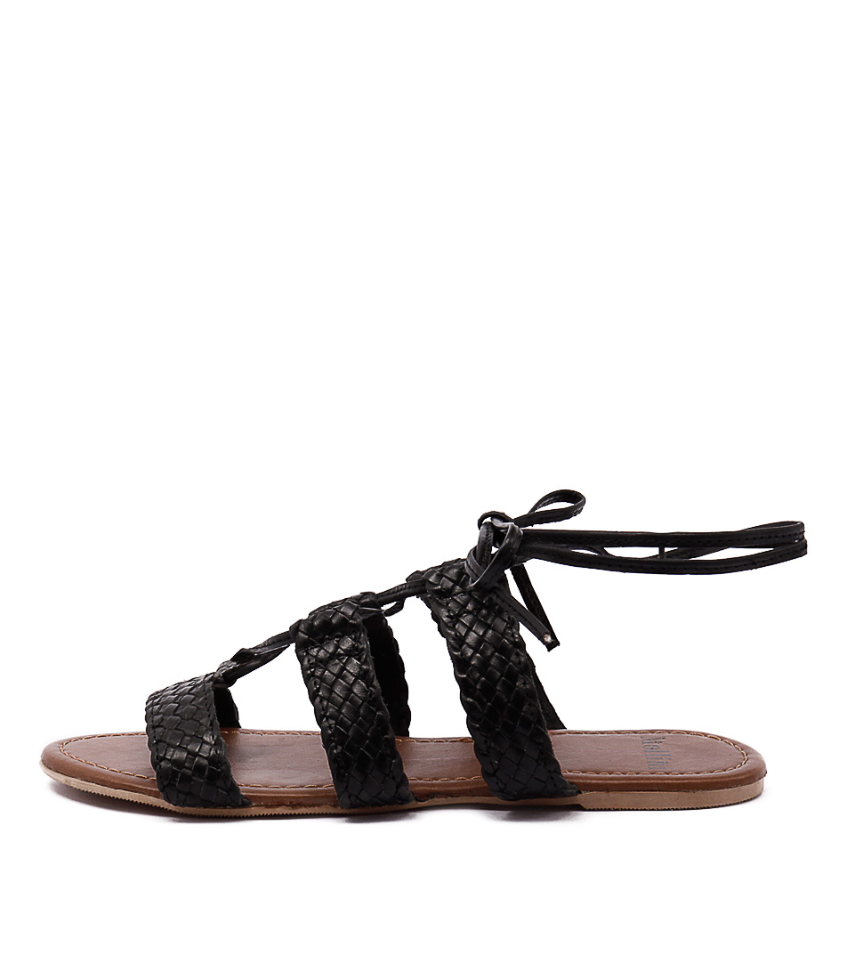 Mollini Sim Black Casual Flat Sandals
