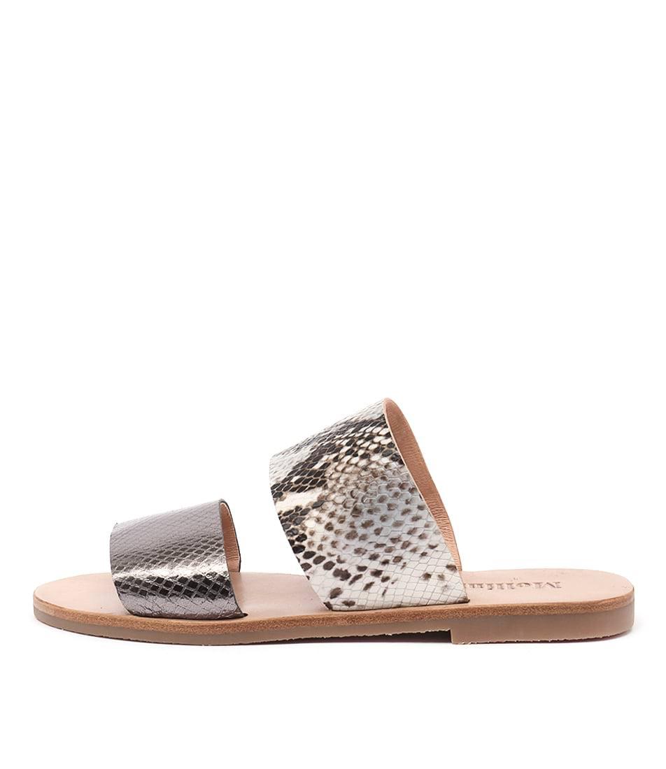Mollini Elinga Pewter Smokey Flat Sandals