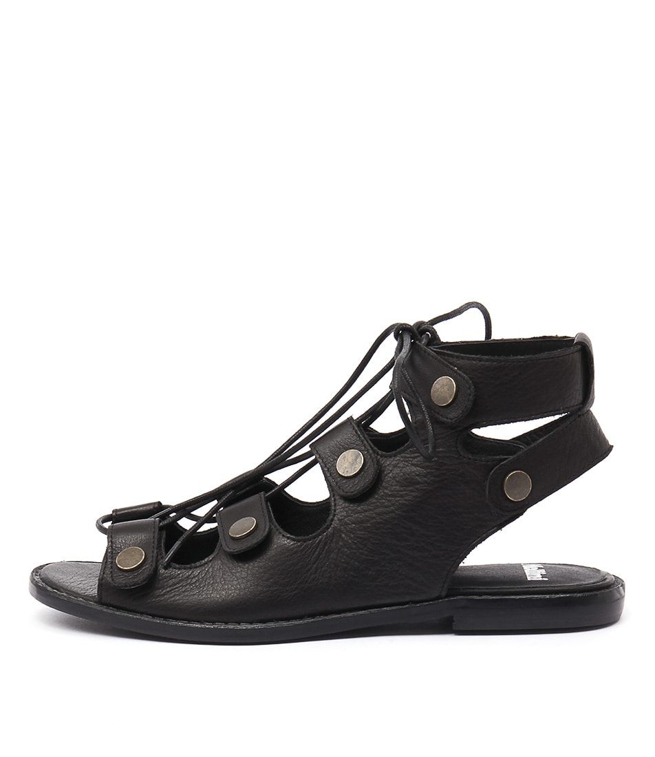 Mollini Nulip Black Flat Sandals