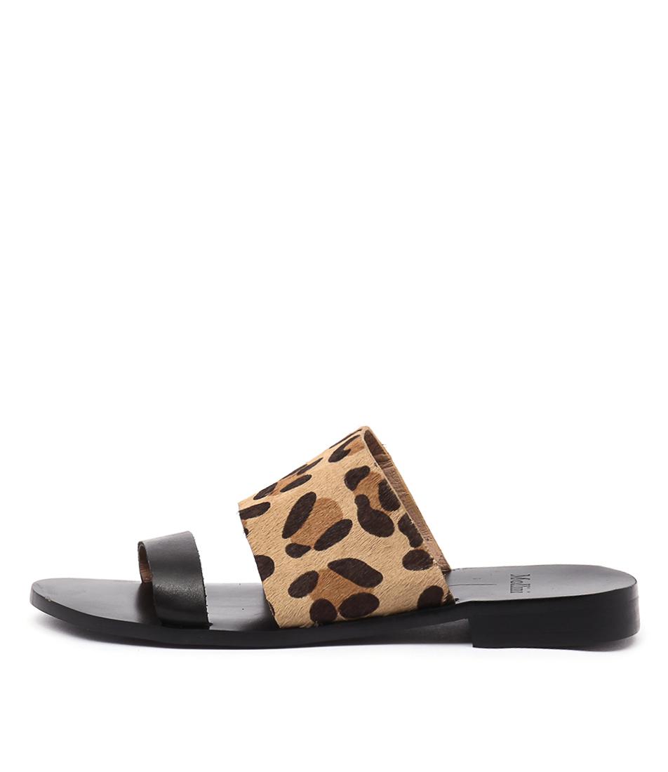 Mollini Redley Black Ocelot Casual Flat Sandals