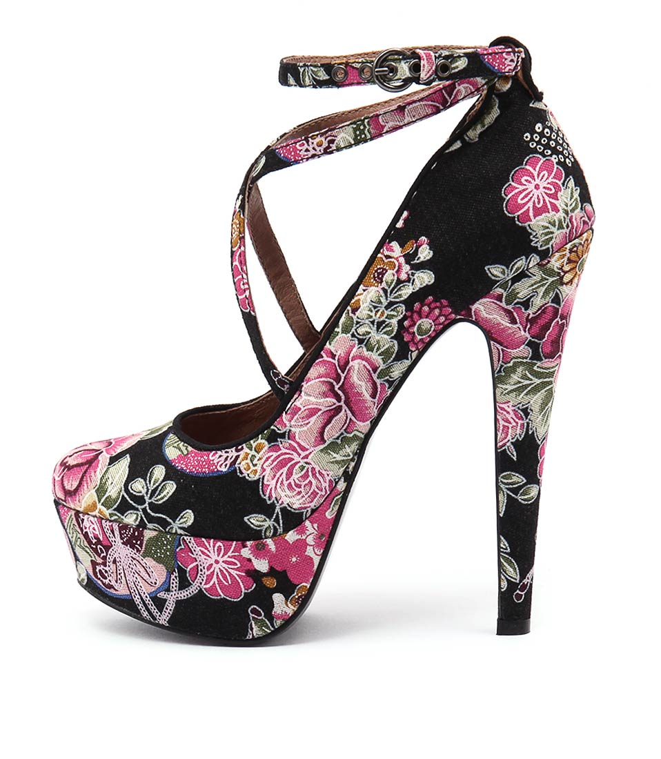 Mollini Officers Black Floral Heeled Shoes