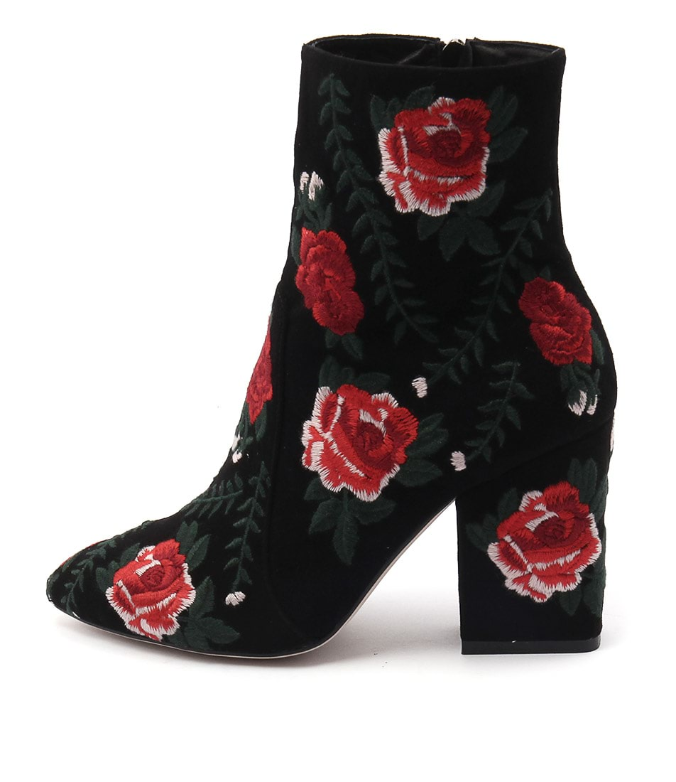 Mollini Mamet Black Red Ankle Boots