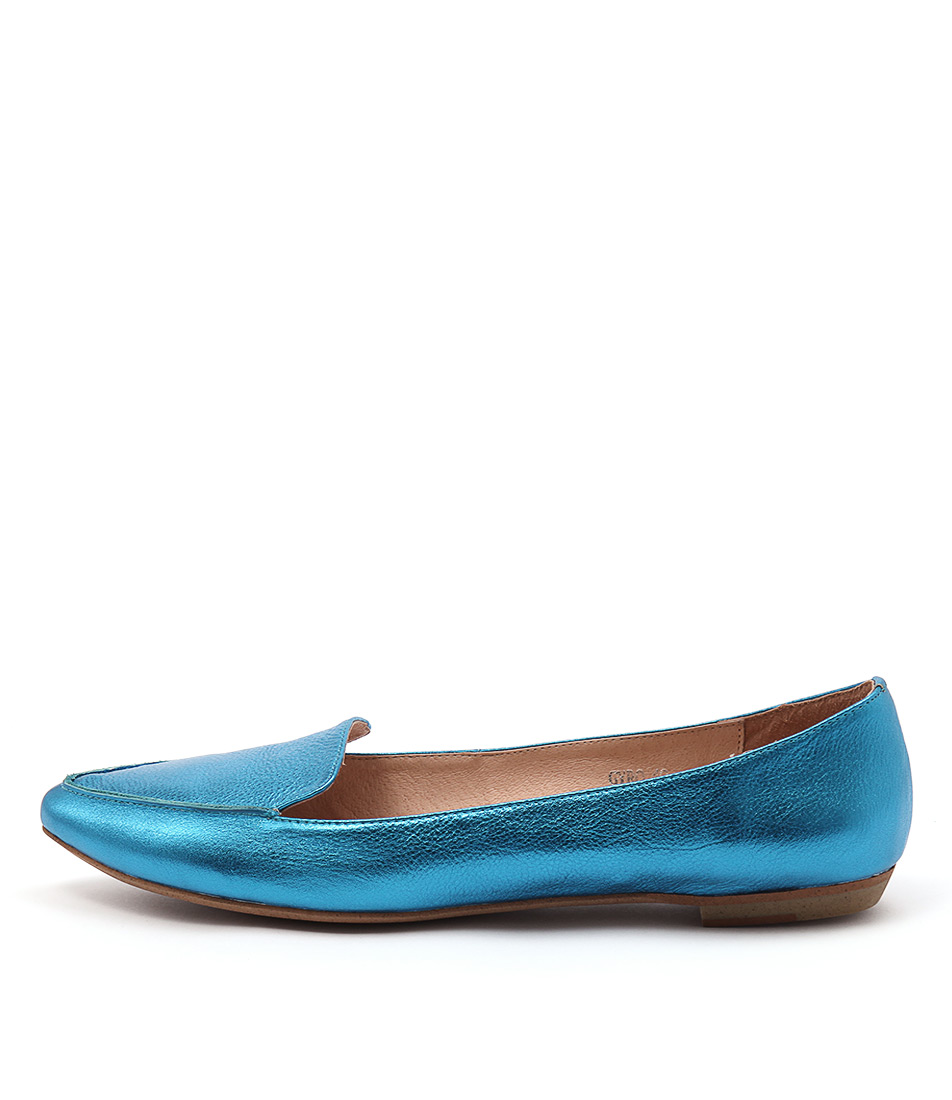 Mollini Gyro Blue Metallic Flat Shoes