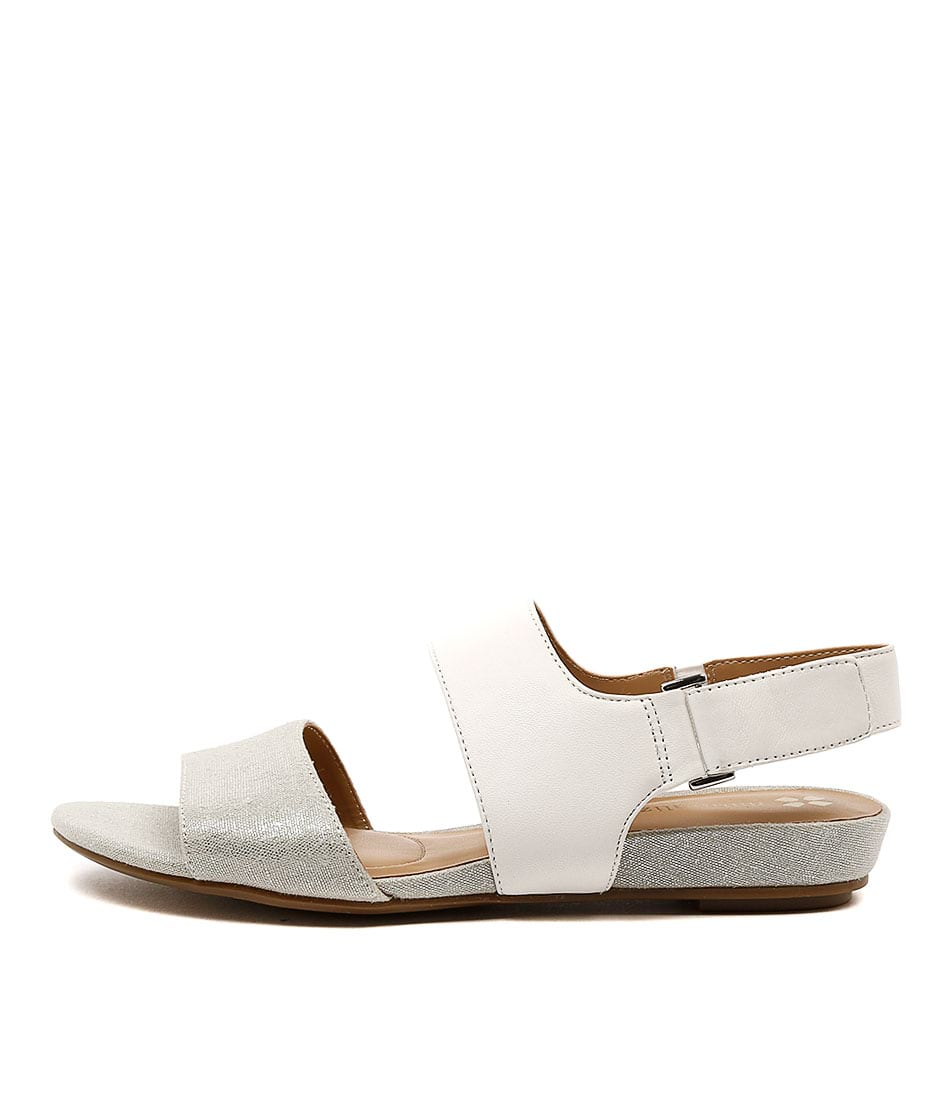 Naturalizer Lanna White Silver Sandals