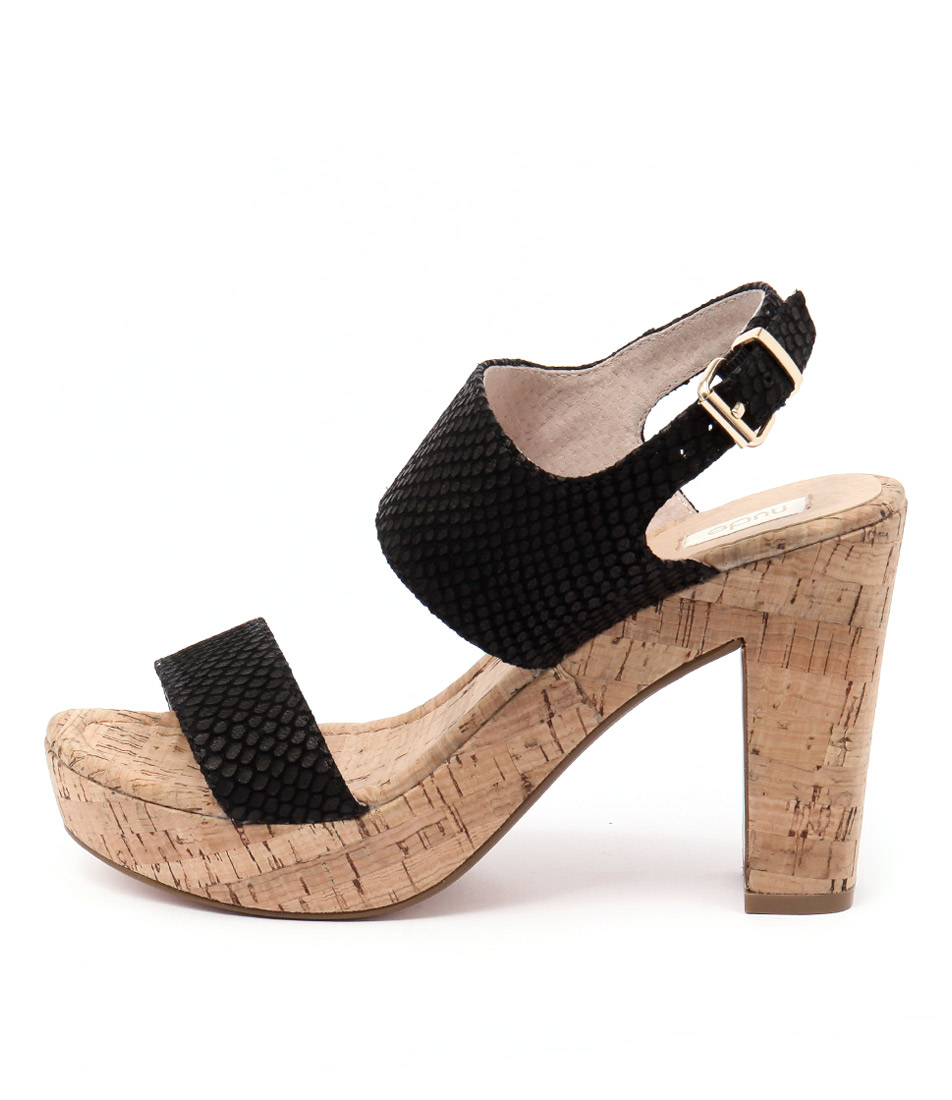 Nude Soul Black Casual Heeled Sandals