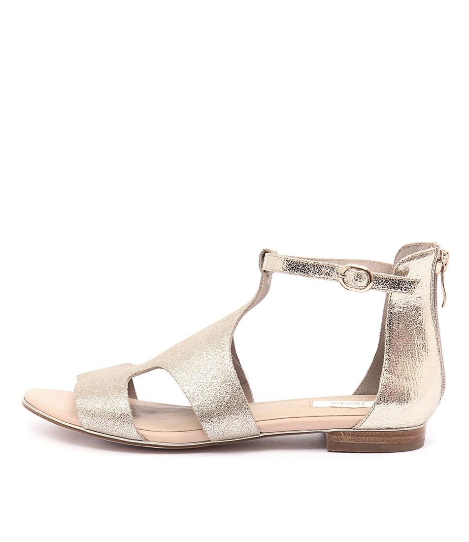 Nude The Sea Pale Gold Casual Flat Sandals