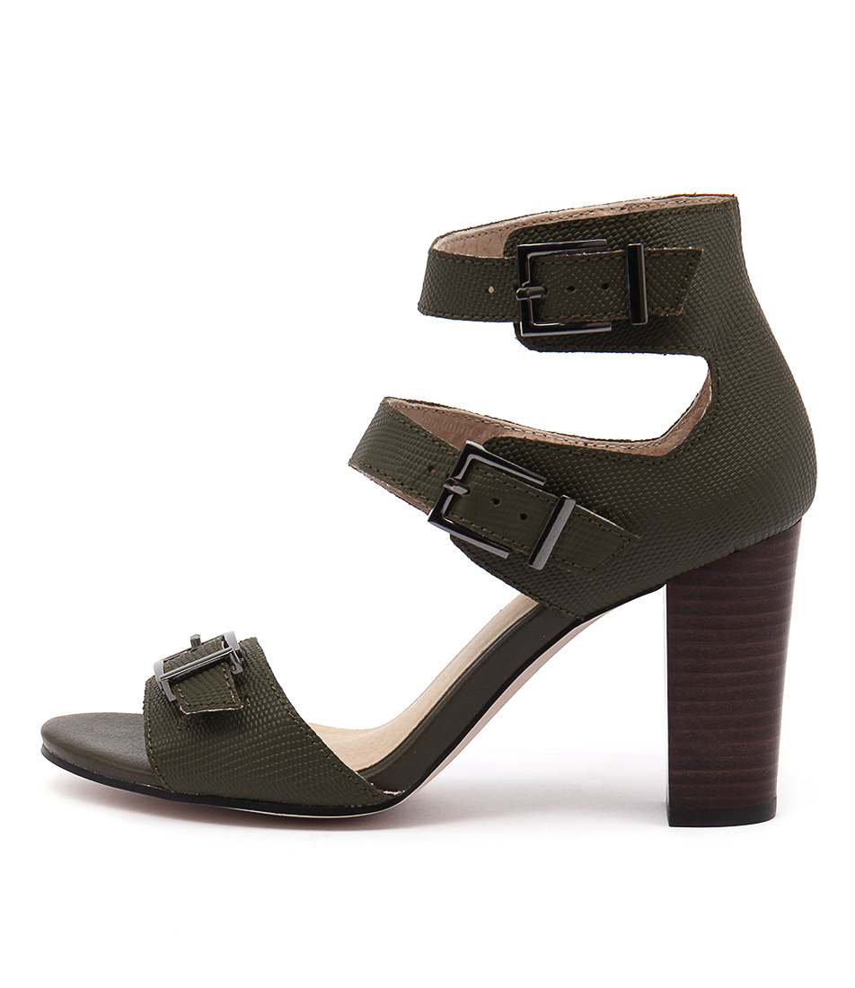Nude Bliss Khaki Casual Heeled Sandals