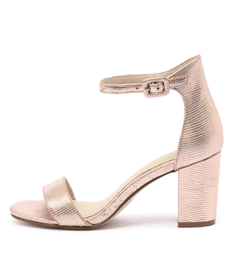 Buy Nude Silence Rose Gold Metallic Heeled Sandals online with free shipping