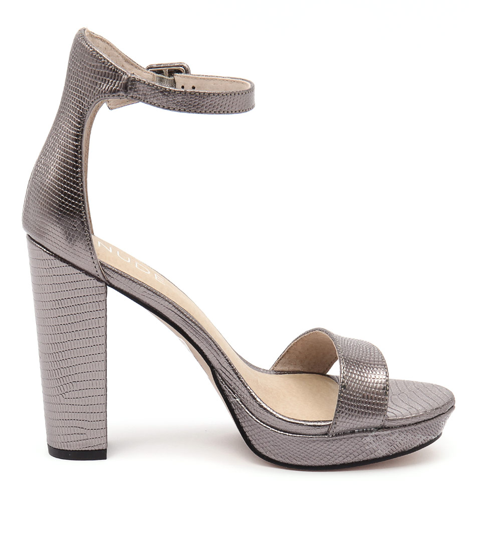 New Nude Flamenco Pewter Womens Shoes Dress Sandals Heeled