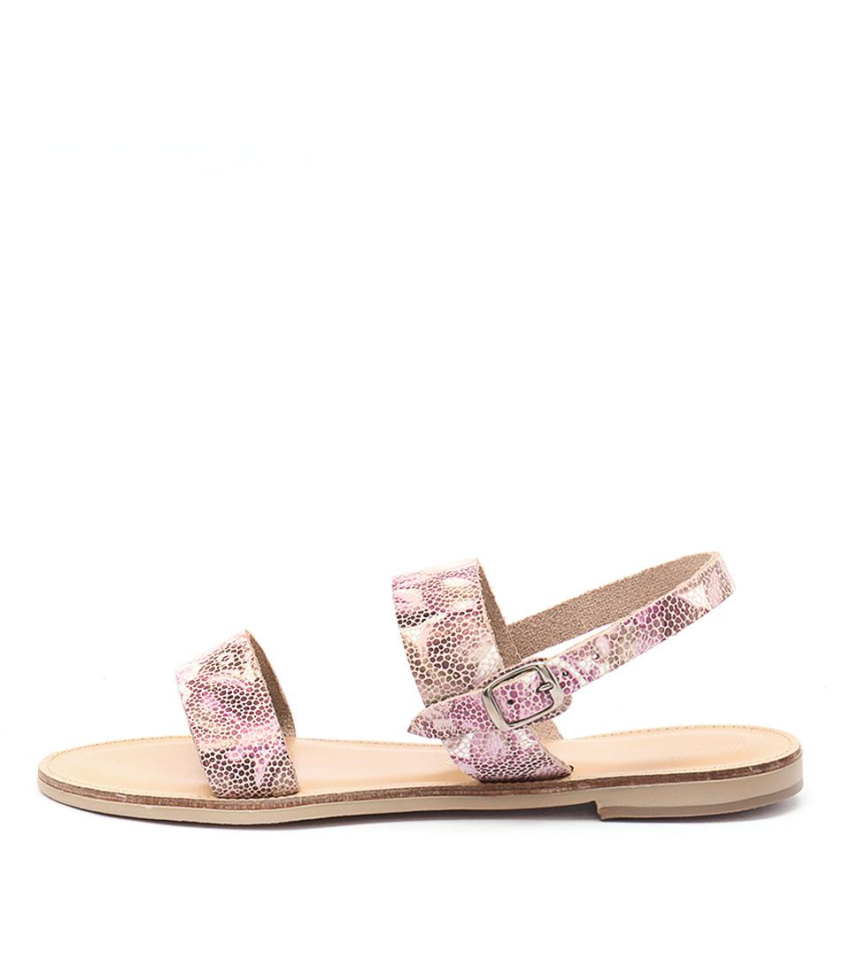 Nicolas Lainas Nia Pink Flower Casual Flat Sandals