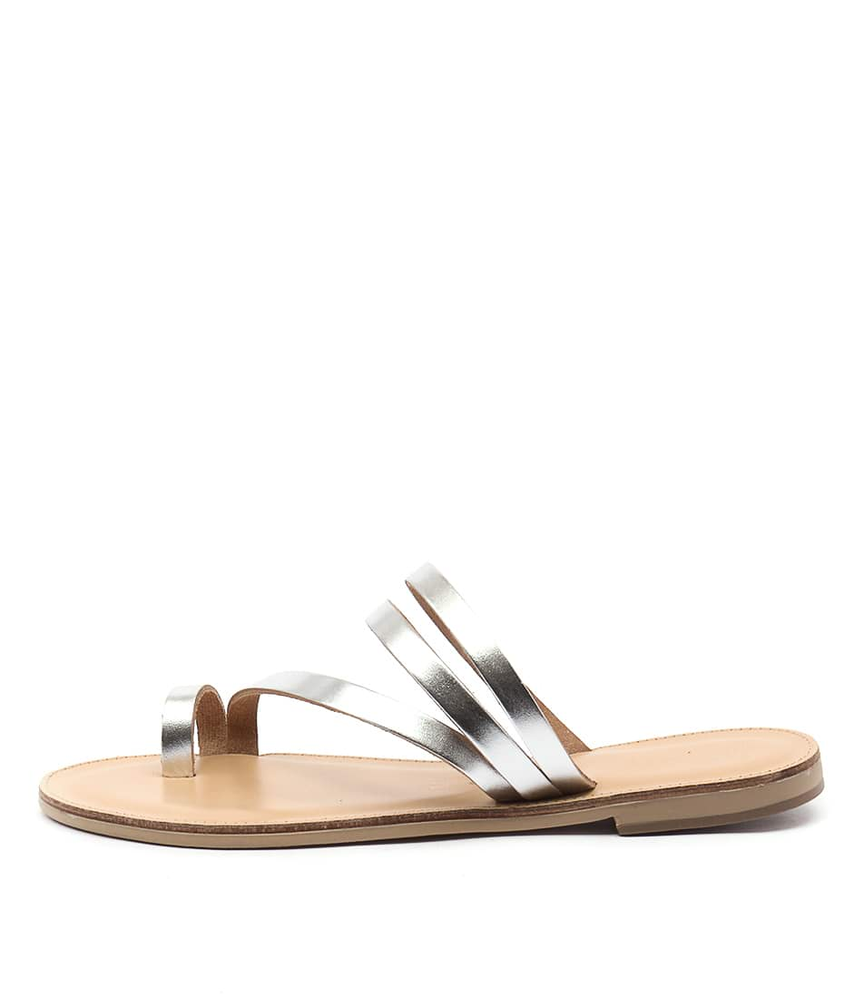Photo of Nicolas Lainas Neema SilverFlat Sandals womens shoes