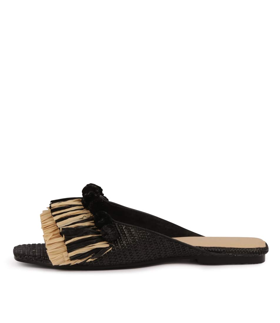 Buy Nude Taje Black Flat Sandals online with free shipping