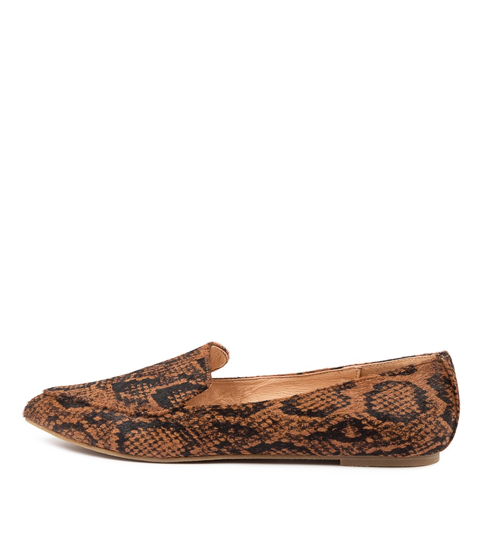 Buy Nude Marco Nu Chocolate Snake Flats online with free shipping
