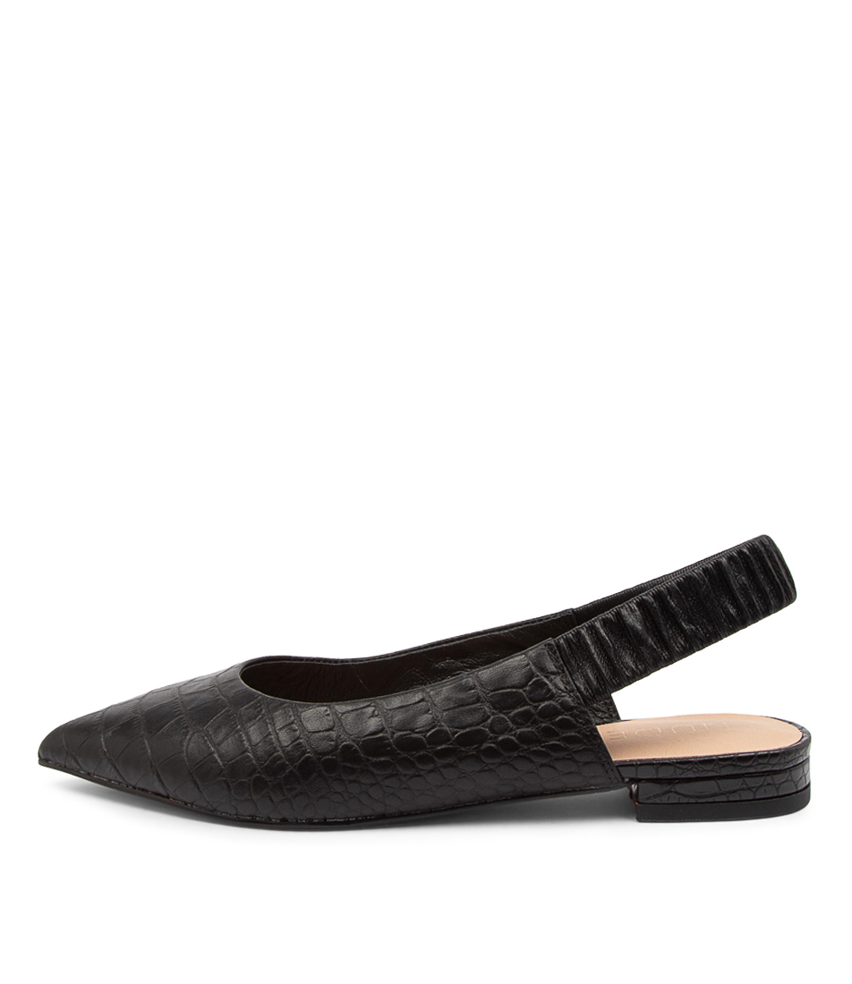 Buy Nude Delphine Nu Black Croc Flats online with free shipping