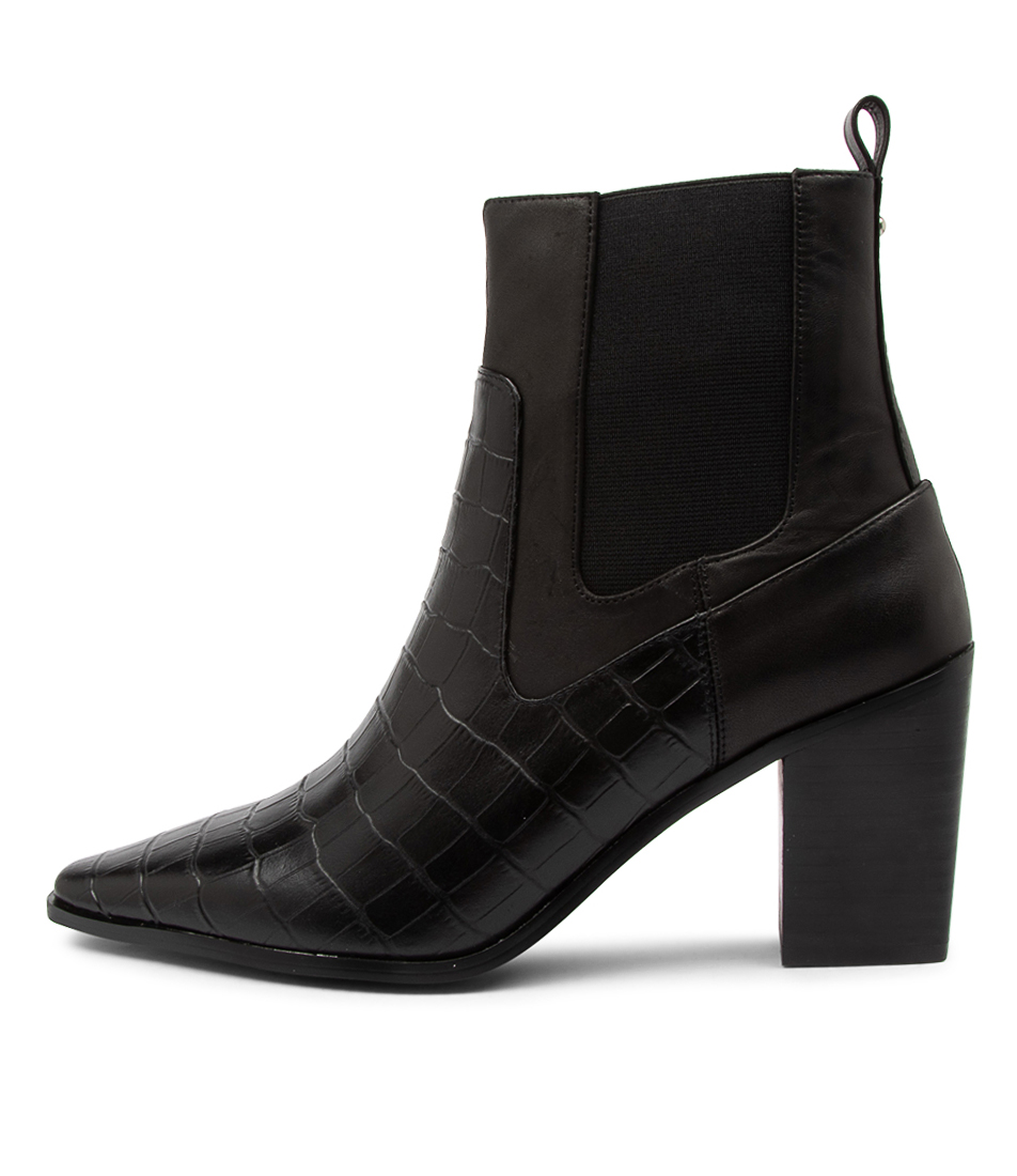 Buy Nude Malik Nu Black Croc Mix Ankle Boots online with free shipping