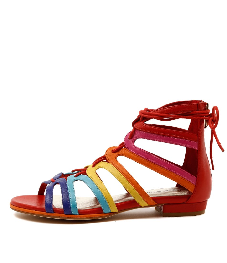 Photo of Django & Juliette Odessa Bright Multi Sandals Flat Sandals womens shoes
