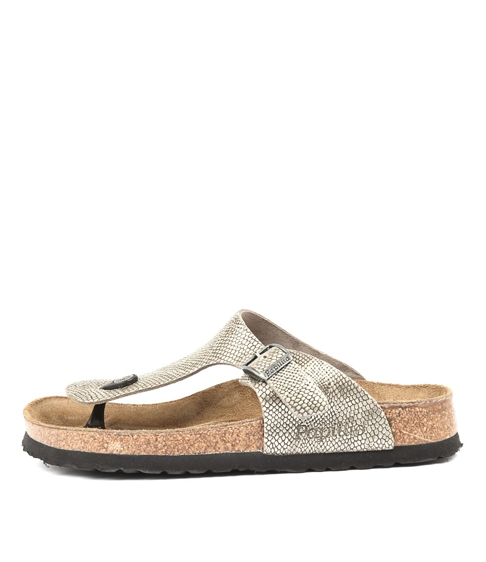Papillio By Birkenstock Gizeh Grey Python Casual Flat Sandals